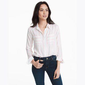 WHBM Ecru/Pink Button-Front Stripe Shirt sz 4